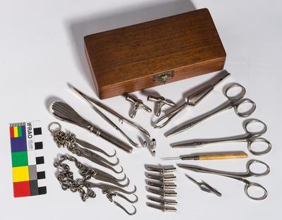 Wooden box containing medical implements; H48983
