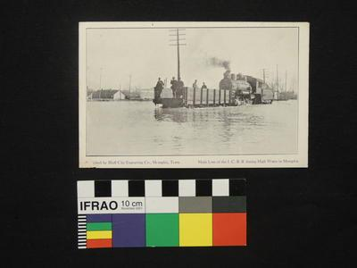 """Postcard - """"Main Line of the I.C.R.R. during High Water in Memphis"""""""