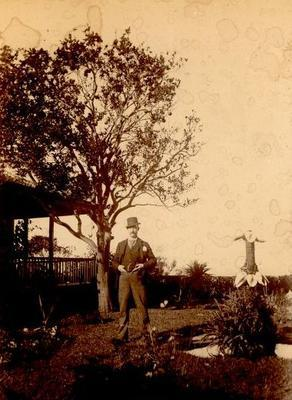 "Photo - ""C.J.P. under an Orange Tree Dunwich""; 1890s; H49002"