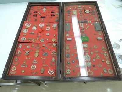 Wooden case with cap badge collection