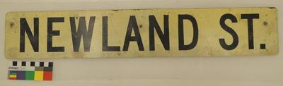 "Street sign ""Newland St."""