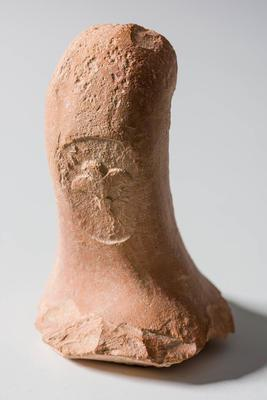 Partial pottery amphora handle with 'Date Palm' stamp
