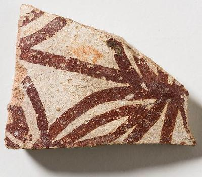 Fragment, pottery, Roman, red and white; E40018