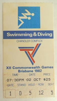 XII Commonwealth Games ticket stub - Swimming; 1982; H49617
