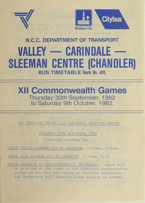 Brisbane City Council bus timetable route no. 405, XII Commonwealth Games 1982