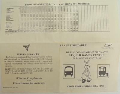 Queensland Railways printed time table XII Commonwealth Games Australia 1982; 1982; H49619