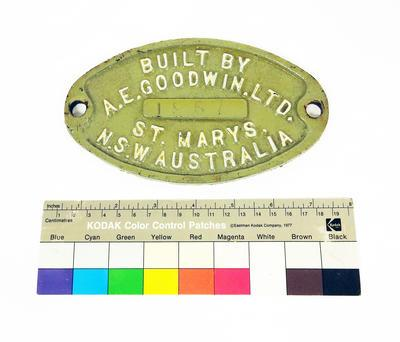 Builder's Plate - Wagon; 1957; R6822