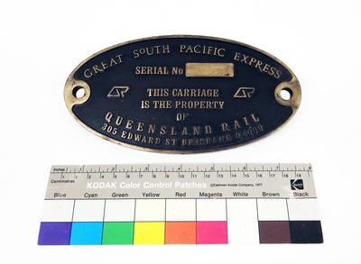 Builder's Plate - Great South Pacific Express Carriage; R6892
