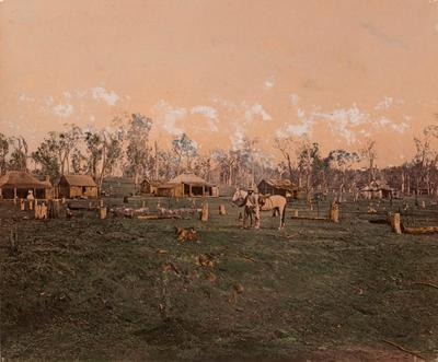 Photograph - Early homestead with temporary outbuildings