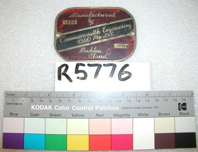 Builder's Plate - Carriage