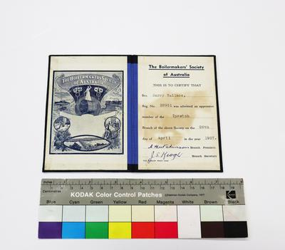 The Boilermakers' Society of Australia Initiation Card