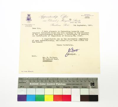 Letter from the Apprenticeship Office, 1961
