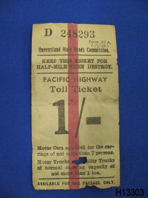 Toll Ticket for Pacific Highway