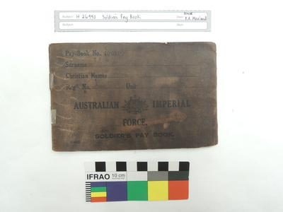 Australian Imperial Force Soldier's Pay Book