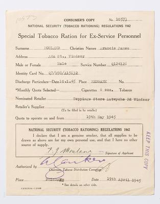 Ration Card, Tobacco, Mouland papers