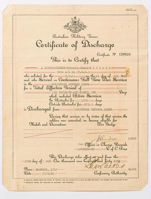 Certificate of Discharge, Australian Military Forces 1945