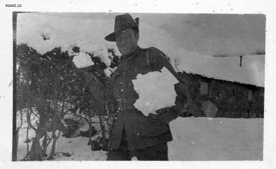 Photograph - Australian Soldier getting ready for snowball fight; 1916; R6440.10