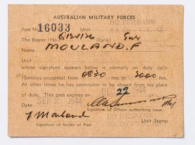 Pass Card, Australian Military Forces