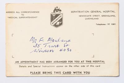 Appointment Card, Repatriation General Hospital