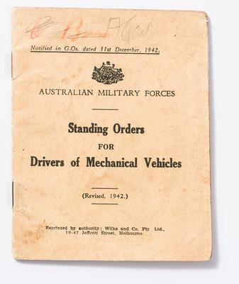 Standing Orders Booklet, World War 2 - Mouland papers