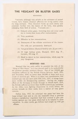 Air Raid Precautions pamphlet, Vesicant or Blister Gases, Mouland papers