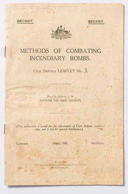 Leaflet - Methods of Combating Incendiary Bombs, Mouland papers
