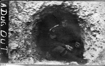 Photograph - Australian Soldier in trench dugout; 10 Feb 1917; R6440.25