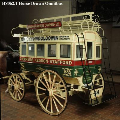 Double-Decker Horse Drawn Omnibus & two lamps.