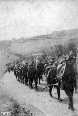 Photograph - Australian Soldiers Route Marching; 17 Feb 1917; R6440.37