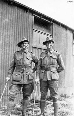 Photograph - Two Australian Soldiers at camp; 08 Jun 1917; R6440.49