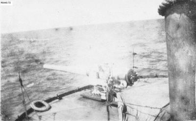 Photograph - Bow of navy vessel with 6 inch gun; 1917; R6440.72
