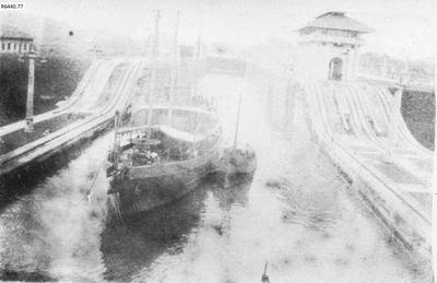 Photograph - Donkey lines on the Panama Canal; 1917; R6440.77