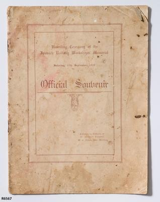 Programme - Official Souvenir Programme for the Unveiling of the Memorial at the Ipswich Railway Workshops; 1919; R6567