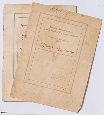 Programme - Official Souvenir Programme for the Unveiling of the Memorial at the Ipswich Railway Workshops; 1919; R6568