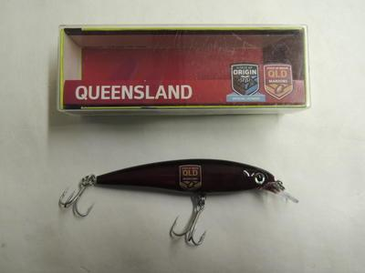 State of Origin fishing lure branded with Queensland Maroons team logo