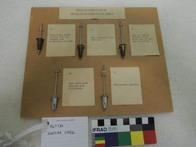 Display Card - Manufacture of the Julian Smith Blood-taking Needle.