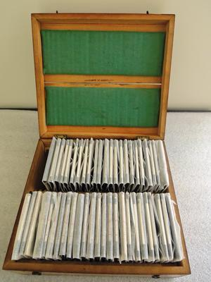 A wooden box containing glass lantern slides
