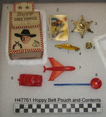Belt Pouch with Swap Card and Toys; Circa 1950s; H47761